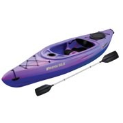 Color: Purple-blue. Adjustable step-lock foot rests for ultimate comfort. Blowmold unibody dihedral hull. Extra large cockpit for easy entry and exit. Ergonomic adjustable padded seat. Rear rubber, extra deep storage compartment. Dashboard cup holder / storage compartment. Includes paddle. Sun Dolphin Phoenix kayak was designed to move through the water with ease and is perfect for short or long trips. The cockpit is non-confining and surprisingly roomy. High-quality adjustable backrest and adjustable foot pegs top the list of features. Great for rivers and lakes. The maximum weight capacity is 250 pounds. Unisex.