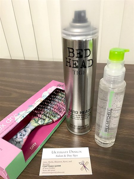 We Brush-Pro, Paul Mitchel Smoothing Super Skinny Serum, Bed Head hair spray. Donated by Ultimate Design.