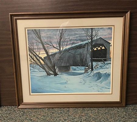 This is a limited edition reproduction of the original oil by Henry Klapproth of the Cedarburg Covered Bridge. Cedarburg's Covered Bridge is Wisconsin's last original covered bridge.
